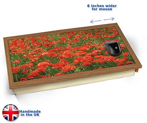 Poppies Red Flower Poppy Field Remembrance Day Cushioned Bean Bag Laptop Lap Tray Desk - Built-in EMF Shield (Electro Magnetic Field) Kissen Tablett Knietablett Kissentablett - Holz Effekt Rahmen