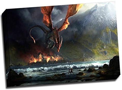 Le Seigneur des Anneaux Poster Dragon Attack Impression sur toile 61x 40,6cm