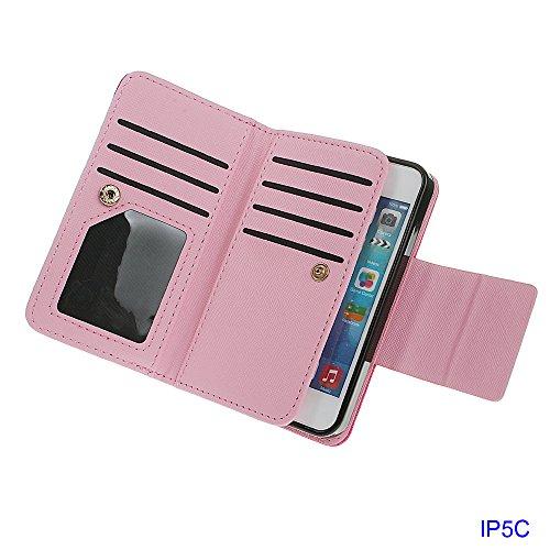 Hülle für iPhone 5C, xhorizon FX Prämie Leder Folio Case [Brieftasche] [Magnetisch abnehmbar] Uhrarmband Geldbeutel Flip Vogel Tasche Hülle für iPhone 5C mit 9H Hartglas Displayschutzfolie Rosa