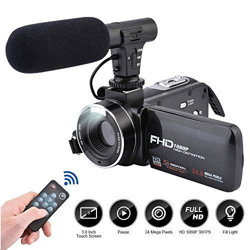 CamKing Caméscope FHD 1080P, Numérique 24.0MP 16X Caméscope Zoom avec Microphone Externe et IPS HD de 3,0 Pouces Enregistreur Numérique à Camera Video Youtube Tactile avec Télécommande