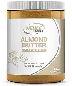 Mandelbutter 1kg – Premium Mandelmus – Wehle Sports Almond Butter natürliches Nussmus veganer/vegetarischer Brotaufstrich für Smoothies, Backen, Snack (Crunchy, 1kg)