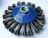2 Kegelbürsten Ø 125 mm – gezopfte Schleifbürste – M14 x 2 Drahtbürste / Kegelbürste / Drahtbürste
