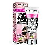 Black Peel-Off Mask (DOPPELT SO VIEL: 100ml) zur Behandlung von Akne, fettiger Haut, Mitessern, verstopften Poren und Hautunreinheiten (T-Zone) | Natürliche Extrake | Herrvorragende Qualität - Ohne Parabene, Silikone, Mineralöle | Tiefenreinigende Biovène Black Peel-Off Mask zur Reinigung verstopfter Poren und zur Perfektionierung Ihrer Haut.