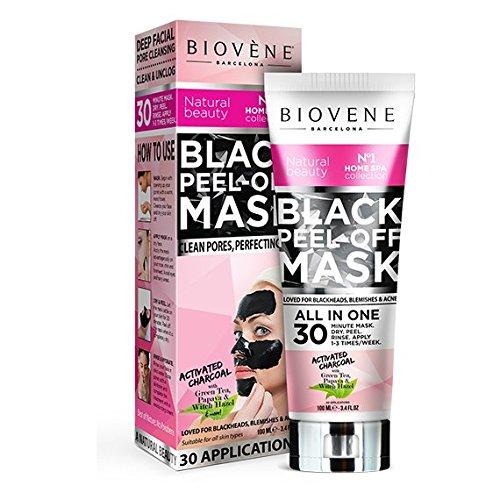 #Black Peel-Off Mask (DOPPELT SO VIEL: 100ml) zur Behandlung von Akne, fettiger Haut, Mitessern, verstopften Poren und Hautunreinheiten (T-Zone) | Natürliche Extrake | Herrvorragende Qualität – Ohne Parabene, Silikone, Mineralöle | Tiefenreinigende Biovène Black Peel-Off Mask zur Reinigung verstopfter Poren und zur Perfektionierung Ihrer Haut.#