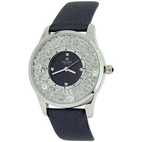 Oskar Emil Womens Silvertone Glass Set Dial Grey Genuine Leather Strap Watch