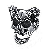 Anelli gotici personalizzati punk in acciaio al titanio con teschio pazzo retrò da uomo,Dimensione 33