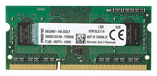 Kingston KVR16LS11/4 Memoria RAM da 4 GB, 1600 MHz, DDR3L, Non-ECC CL11 SODIMM, 1.35 V, 204-pin