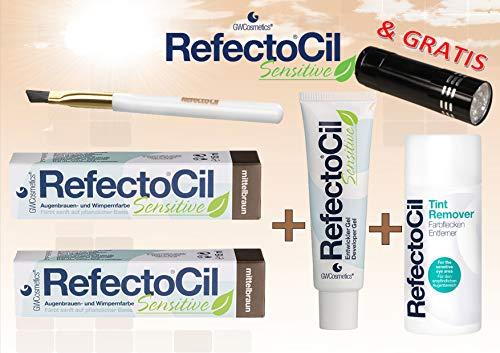 Refectocil Sensitive SET Augenbrauen/Wimpernfarbe 2 x mittelbraun - Entwickler &...