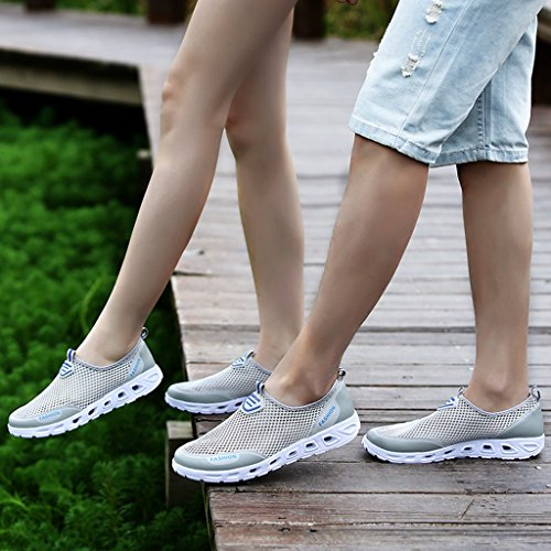 Eagsouni® Unisex Mesh Sneaker Leichte Atmungsaktive Turnschuh Laufschuhe AquaSchuhe Weichsohlen Walkingschuhe #1Grau