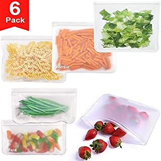 Reusable Storage Bags, 6 Pack Leakproof Freezer Bags (4 Reusable Sandwich Bags & 2 Reusable Snack Bags), Extra Thick FDA Grade Ziplock Lunch Bag for Food Travel Storage Home Organization