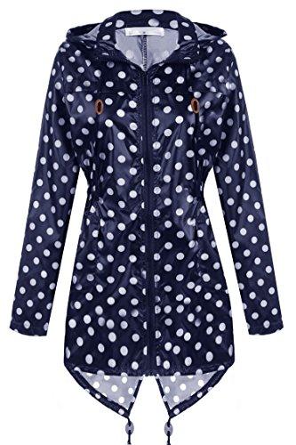 begorey Damen figurbetont Mit Kapuze Tasche Wasserdicht Atmungsaktiv Funktionsjacke Übergangsjacke Marineblau+Weiß