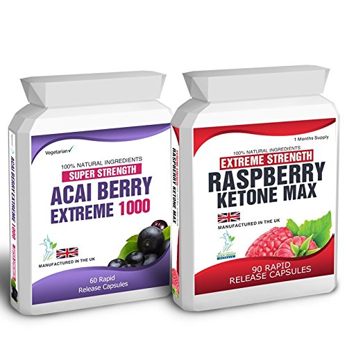 Body Smart Herbals - 90 Raspberry Ketone Plus 60 Acai Berry Extreme Weight Loss Slimming Diet Pills