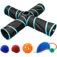UEETEK 4 Way Cat Tunnel, Collapsible Pet Play Tunnel Tube with 4 Extra Cat Toys for Cat, Puppy, Kitty, Kitten, Rabbit