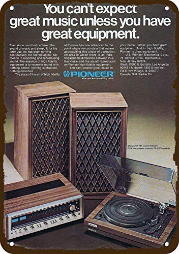 1975 Pioneer Stereo System & Turntable Vintage-Look Replica Metal Sign 7