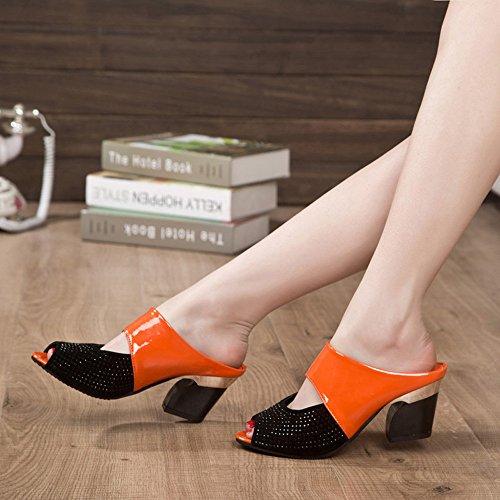 Longra Donna Colore Tutto-fiammifero comodo con i sandali spessi Arancia