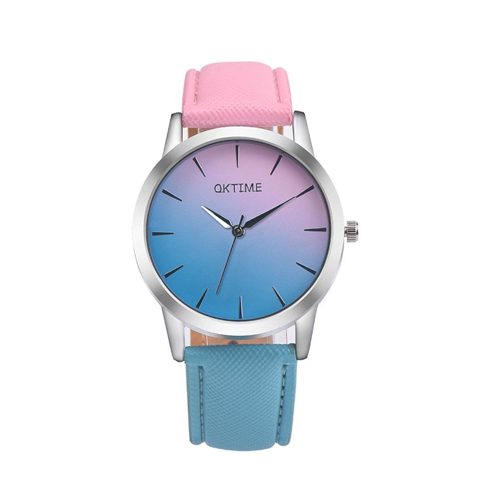 Womens Quartz Watches Ulanda-EU Unique Rainbow Design Analog Lady Wrist Watch Female Watches for Women Round Dial Case…