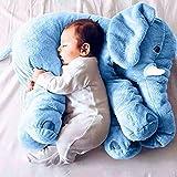 Baby Kinderkopfkissen Kleinkind Schlaf Grauer Elefant Elephant Pillow Stuffed Plüsch Kissen Kinderzierkissen Plüschtiere 100% Baumwolle Geschenke Für Kinder (45 * 25 * 60cm/17.7*9.8*23.6inch, Blau)
