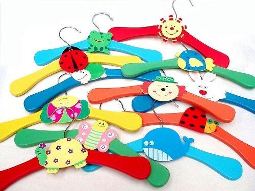 24 x, Multi-colore per bambini, in legno e ganci - Legno Bambino Hanger