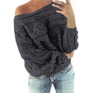 Yvelands Schulterfrei Oberteile Damen Herbst Winter Off Shoulder Pullover Pulli für Damen Loose Fit mit Blumenmuster