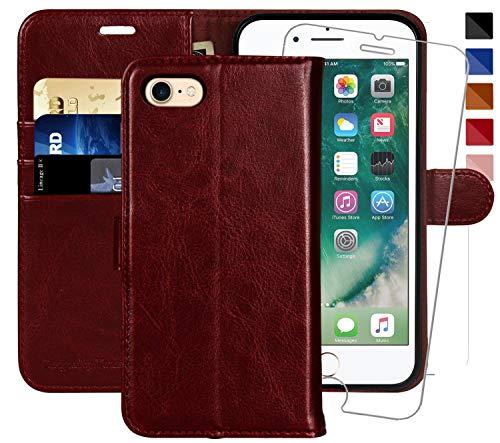MONASAY iPhone 7 Handytasche/iPhone 8 Handyhülle,4.7 Zoll, [Gratis Panzerglas Schutzfolie] Handyfach Brieftasche Schutzhülle Tasche Flip klappbar Leder Hülle mit Kartenfach für Apple iPhone 7/8 (Wallet Case 4 Frauen Iphone)
