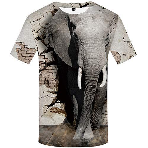 TONGFENGA Camiseta De Elefante con Impresión Digital 3D Camiseta De Hombre Camiseta con Manga Corta Y Cuello Redondo Animal S-XXXL