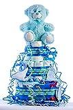 Tarta de pañales DODOT. Un regalo original para el bebé recién nacido incluyendo peluche, calcetines, babero, toallas DODOT y toalla facial