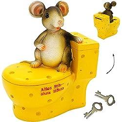 Unbekannt große Spardose - Alles Sche ... ohne Mäuse - mit Schlüssel & Schloß - stabile Sparbüchse - aus Kunstharz / Polyresin - Maus auf dem WC - Sparschwein - für..