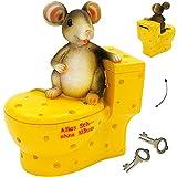 Große Spardose -  Alles Sche ... Ohne Mäuse  - mit Schlüssel & Schloß - Stab..