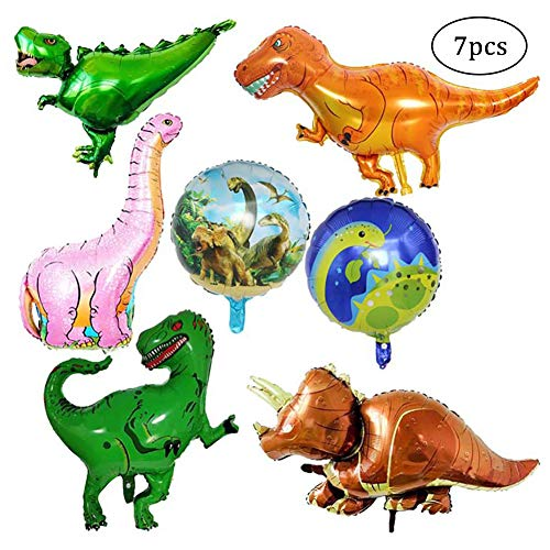SIMUER 7 Pack Riesen Dinosaurier Folienballon Wiederverwendbare Heliumballons Set Foil Dinosaurier Ballon für Geburtstagsfeier Dekoration Kinder Geschenk Jurassic Welt Birthday Party Supplies (Junge Royal Party Supplies)
