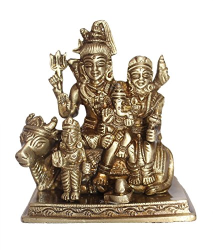 Crafthut Shiv Parivar With Nandi Brass Metal Statue for home and office, for Blessing , Happiness , Health , Wealth at Home & Office , Handcrafted with Antique Look/ Diwali Gift Product Dimensions. (LXBXH - 3.5 X 3.5 X 5.0 ) Inches Weight- 920 Gms