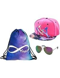 Kit ensemble de 3 accessoires : Sac , Casquette et lunettes (Outfit Set 1) pas cher convenables pour adultes et ados unisex fille garçon homme femme look cool sympa rondonnée été printemps demi-saison