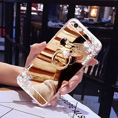 Galaxy Note 3 Hülle,Galaxy Note 3 Silikon Hülle,JAWSEU Schutzhülle Samsung Galaxy Note 3 Hülle [Glitzer Strass Ring Stand Holder], Luxus Glitzer Bling Diamant Strass Spiegel TPU Case für Samsung Galax Kristall Blumen Gold