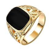 Yoursfs vergoldet 18k Gold Solitaire schwarz Siegelring Öl-Tropfen für Männer oder Knaben oder als Geschenk für den Vatertag