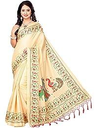 SAREE MALL Art Silk Saree With Blouse Piece(sarees Below 300 Party Offer_SRJKH034_Beige_Free Size)
