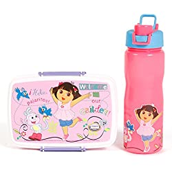 Jayco Insulated Water Bottle Cool Quench with Dora Ben 10 Sponge Bob Peanut Lunch Box set (Dora, 1000 ML)