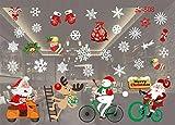 WL Wandaufkleber Weihnachten Wandaufkleber Elch Santa Schneeflocke Kunst Aufkleber Szene Aufkleber Wandbild Fensteraufkleber Schaufenster PVC Aufkleber C8