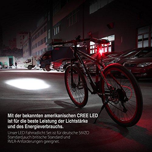 Poweradd StVZO zugelassen LED Fahrradlicht Set, inkl. Frontlichter und Rücklicht, Wiederaufladbare Fahrradbeleuchtung Set mit hellen Leuchten und Einfacher Installation, energiesparend, Regen- und Stoßfest - 7