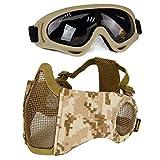 Aoutacc Airsoft Kit de Protection Demi-Masque en Maille avec Protection d'oreille et Lunettes pour CS/Chasse/Paintball/tir, DD