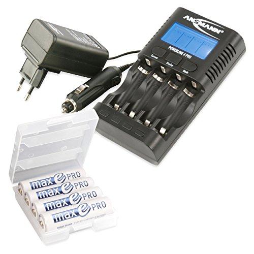 ANSMANN Chargeur Powerline 4 Pro / Station de charge multifonctionnelle pour 1 à 4 accus NiMH/NiCd-AA ou AAA / Testeur de capacité & dispositif d'entretien d'accu / permet de charger des appareils via le port USB du chargeur / 4x accumulateurs maxE Pro AA inclus