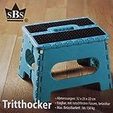 SBS Tritthocker 32 x 25 x 22 cm - bis 150 kg - tragbar rutschfest platzsparend Tritt Steigleiter (Türkis)