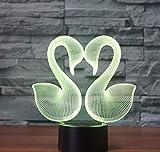 3D Night Light Chi Ld Swan 3D Tappezzeria Leggera Colorata Led Lampada Da Tavolo Decorazione Atmosfera