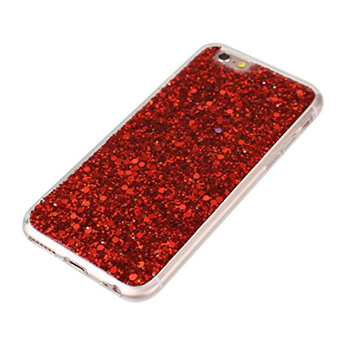 Housse iPhone 6S Liquide Sables Mouvants (4.7 pouce), iPhone 6 coque Protection, Moon mood® 3D Case Fashion Étui iPhone 6 Silicone Coque de Protection Transparent Crystal Clair Souple TPU doux côté +  Rouge