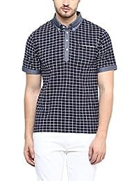 Hypernation Navy Blue Checkered Printed Cotton T-shirt For Men