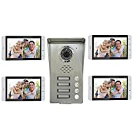 "AMOCAM Wired Video Door Phone Intercom System, 7"" Monitor a full Aluminum Alloy Camera,IR night vision, Support Monitoring, Dual Way Talking Video Doorbell Kits, for 4 Units Apartment House"