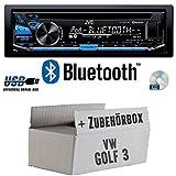 VW Golf 3 III - JVC KD-R871BT - Bluetooth CD/MP3/USB Autoradio - Einbauset