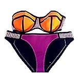 Arrowhunt Damen Mädchen Neoprene Bunte Zweiteilige Sport Push Up Bikini Set