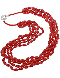 TreasureBay–Chunky multi-stranded rojo coral cuentas collar 48cm–presentado en una bonita caja de regalo