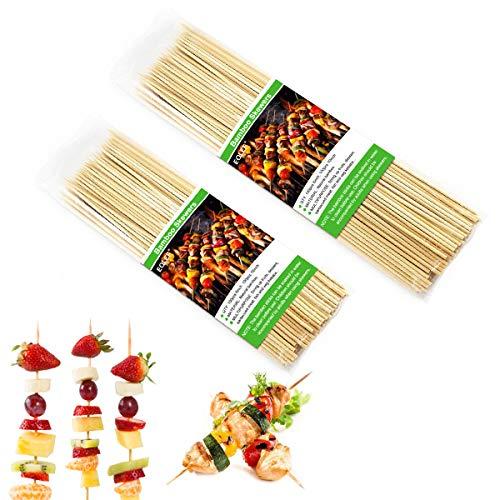 100er Pack 15cm Bambus-Spieße und 100er Pack 25cm BBQ Fruit Kebab Sticks für Party, Bankett, Büffet, Alltagsleben zum Grillen, Canape, Marshmallow, Dessert, Cocktail ()