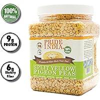 Pride Of India división amarillo indio guandul proteína y fibra rica dal Toor, tarro 1,5 libra