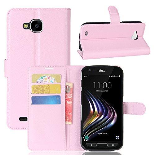Kihying Hülle für LG X Venture Hülle Schutzhülle PU Leder Flip Wallet Fashion Geschäft HandyHülle (Pink - JFC08)